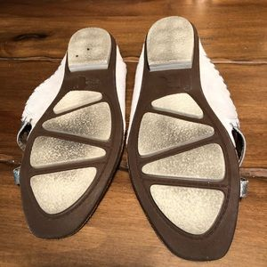 Report Shoes - Report White Silver Slide Slip On Leather Sandals